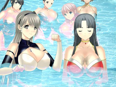 巨乳くノ一達が水浴び