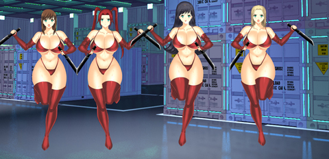 四人の女戦闘員 赤ビキニ状スーツ